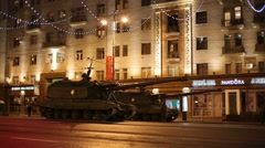 Modern tanks at night rehearsal of Victory Day parade. Stock Footage