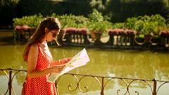 Attractive Woman Looking for Directions Holiday Vacation Europe Stock Footage