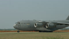 Close view of C-17 Globemaster transport at airfield 4K - stock footage