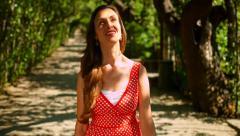 Joy Happiness Nature Concept Rest Vacation Park Break Woman Joy Stock Footage