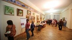 Exhibition of paintings in Kolontaevo sanatorium. Stock Footage