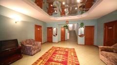 Hall with sofa and carpet in Kolontaevo sanatorium. Stock Footage