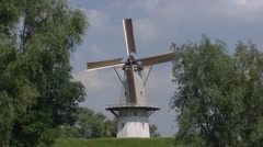 Windmill, slowly turning wicks - WOUDRICHEM, THE NETHERLANDS Stock Footage