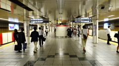 Time Lapse of Passengers on Metro Rail Station Platform in Tokyo Japan Stock Footage