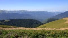 Mountain view gagra range. summer panorama of krasnaya polyana. Stock Footage