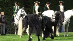 Classic cavalry big quadrille demonstration black horse long mane Stock Footage