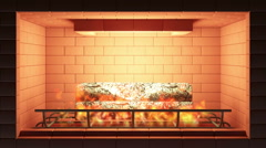 Seamless Looping Animation of Burning Fireplace Stock Footage