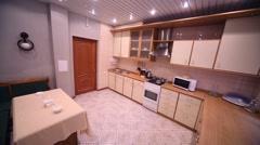 Empty modern kitchen of hotel suite in Kolontaevo sanatorium. Stock Footage