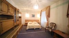 Empty bedroom of hotel suite in Kolontaevo sanatorium. Stock Footage