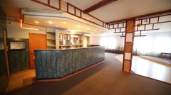 Empty bar counter, area for dancing and chairs near walls Stock Footage