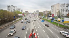 Traffic on Schelkovskoe highway at cloudy day. - stock footage