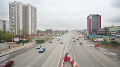 Cars move on Schelkovskoe highway in Moscow. - stock footage