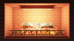 4k Seamless Looping Animation of Burning Fireplace - stock footage