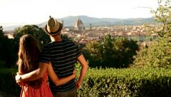 Romantic Couple Tourists Vacation Europe Beauty Park Garden Florence - stock footage