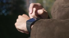 Smartwatch Being Used Outdoors Wearable Technology HD Stock Footage