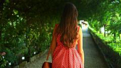 Woman Walking Beautiful Nature Path Corridor Foliage Summer Arkistovideo