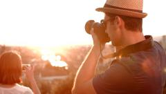 Europe Vacation Tourist Man Taking Pictures Sunset Colors Beautiful View Stock Footage