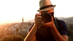 Handsome Tourist Taking Photo on Vacation Stock Footage