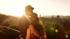 Romantic Couple Hugging Tourists Vacation Europe Sunset Stock Footage