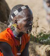 Stock Photo of turmi, omo valley, ethiopia - december 30, 2013: unidentified traditionally d