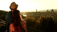 Cure Young Couple Hugging on Romantic Vacation Tourism Concept Stock Footage