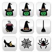 Witch Halloween vector buttons set - stock illustration