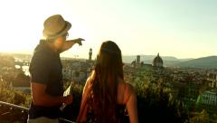 Pretty Tourists Man Woman Sight Seeing Europe Travel Holiday Vacation - stock footage