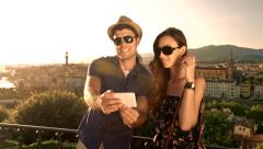 Young Tourists Couple Posing Selfie Picture Technology Travel Concept Stock Footage