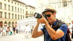 Tourist Taking Pictures in Europe Art History Architecture Travel Concept Stock Footage