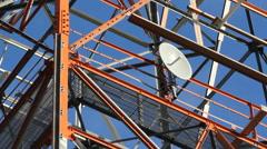Parabolic dish on communication tower. Stock Footage