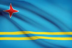 Flag blowing in the wind series - aruba Stock Illustration