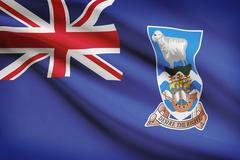 flag blowing in the wind series - falkland islands - stock illustration