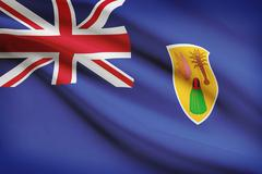 Flag blowing in the wind series - turks and caicos islands Stock Illustration