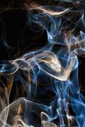macro photo of the smoke - whit black background - stock illustration