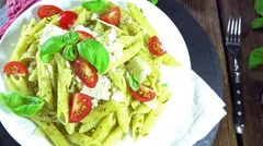 Penne with pesto (seamless loopable) Stock Footage