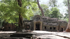 Ta Prohm Temple With Tourist Entering Stock Footage