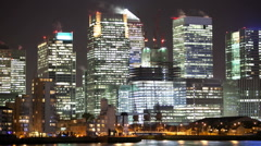 London Canary Wharf Night Time Lapse Stock Footage
