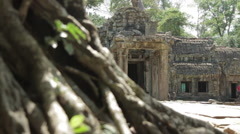 Pull-Focus Tree Roots Main Entrance Ta Prohm Stock Footage