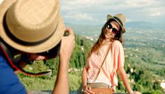 Countryside Vacation Tourist Taking Pictures of Pretty Woman Nature Landscape Stock Footage