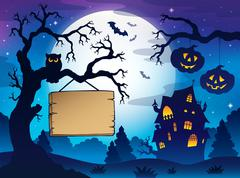 scenery with halloween thematics - illustration. - stock illustration