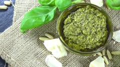 Homemade basil pesto (loopable) Stock Footage