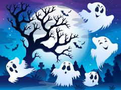 spooky tree theme image - illustration. - stock illustration