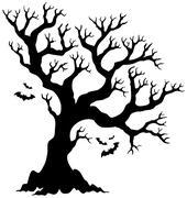 Silhouette halloween tree with bats - illustration. Stock Illustration