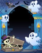 wall alcove with halloween theme - illustration. - stock illustration