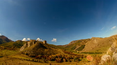 Coltesti fortress in autumn landscape time lapse with airplane trails 4K Stock Footage