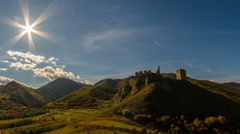 Coltesti fortress in autumn landscape time lapse with sun moving in  4K close up Stock Footage