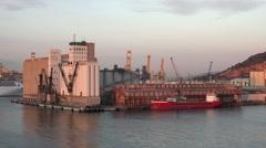 Barcelona Spain Port cargo ship loading 4K 006 Stock Footage