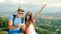 Pretty Couple Selfie Tuscany Beauty Nature Landscape Ecology Stock Footage