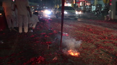 FIREWORKS FIRECRACKER EXPLOSIONS CHINESE RELIGION - stock footage