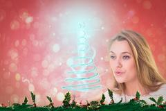 Composite image of pretty blonde blowing a kiss Stock Illustration
